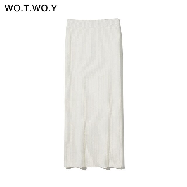 WOTWOY Knitting Cashmere Pullover and Skirt Two Piece Set Women Slim Fit Cropped Tops Women Autumn Elegant Sweater Outfits Women