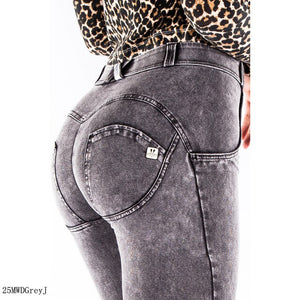 Melody Wear Grey Jeans Denim Outtfit  Stretch Skinny Push Up Jeans Women Sweatpants Women Body Shaper Shapewear Sexy Figure