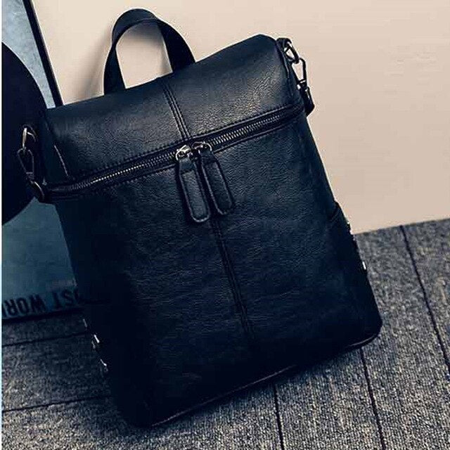 2021 PU Leather Backpack Women Waterproof PU Leather Ladies Zipper Female Casual Shoulder Bag Teenager School Bag