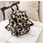 LIKETHIS Leopard Small Backpacks for Women Fashion Back Pack Travel Chain Plush Bags 2021 New Spring Mini Backpack girls mochila