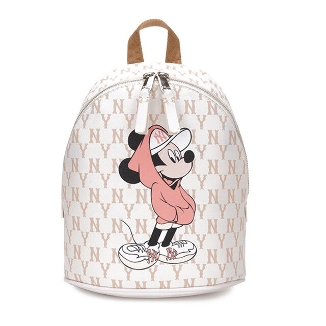 Disney Mickey Fashion  Pu Leather Ladies High Quality Female Backpack Zipper Large Capacity women Travel  Casual  Bag