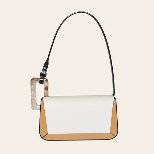 Underarm Bag Women's Single Shoulder Niche Brand Bag 2020 New Personality Contrast Stitching Acrylic Square Buckle Baguette Bags