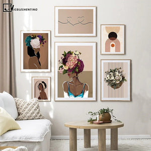 Flower Head Woman Canvas Painting Black Girl Abstract Poster Bohemian Art Print Contemporary Wall Picture Living Room Home Decor