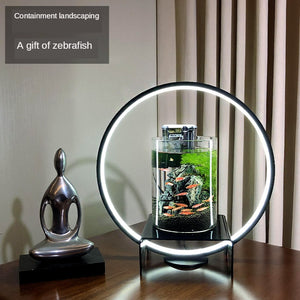 New Chinese Cylindrical Creative Fish Tank Small Office Desktop Ecological Fish Tank Aquarium Led Landscape Living Room Home