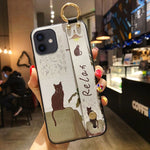 SoCouple Case For iPhone 11 Phone Holder Case for iPhone 11 12 Pro Max X Xs Max XR 7 8 Plus SE Cute Cat TPU Wrist Strap Cover