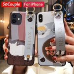 SoCouple Case For iPhone 12 Pro Max Case for iPhone 11 Pro Max X Xs Max XR 7 8 Plus SE Cat TPU Wrist Strap Phone Holder Cover