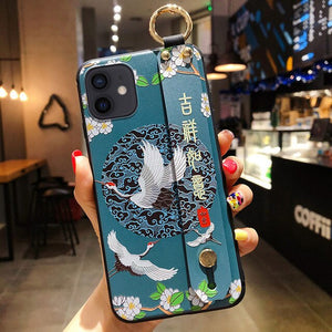 SoCouple Phone Holder Case For iPhone 11 12 Pro Max X Xs Max XR 7 8 Plus SE Chinese Culture Pattern Soft TPU Wrist Strap Cover