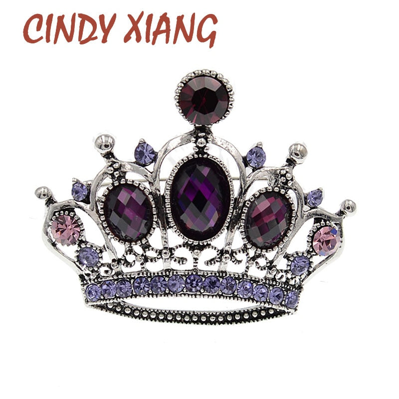 CINDY XIANG Crystal Crown Brooches For Women Fashion Vintage Jewelry Beautiful Shining Rhinestone Pin High Quality New 2021