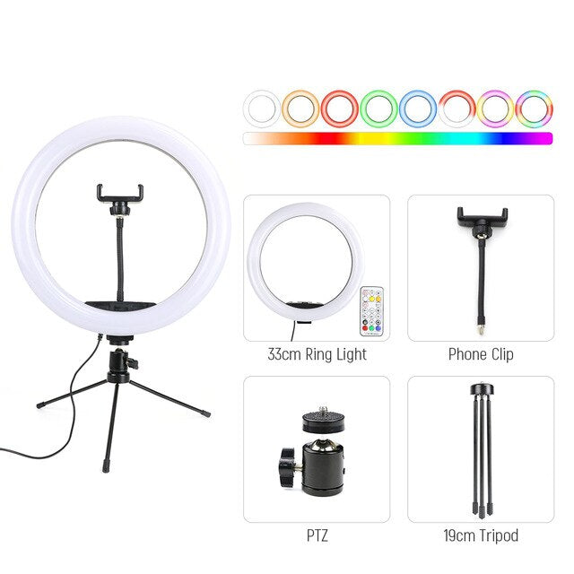 13inch RGB LED Selfie Ring Light with Tripod Stand Phone rgb Ring Lamp USB Ringlight for Youtube Tiktok Video Photography studio