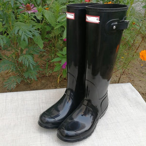 UVRCOS H T Rubber Rainboots British Classic High Tube Waterproof Shoes for WomenTall Rain Boots Female Knee-high Women Boots