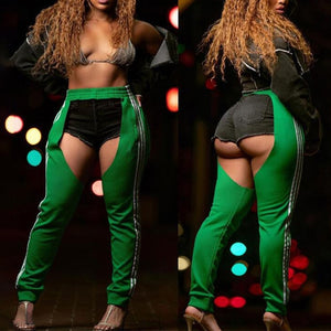 Sexy Hollow Out Open Crotch Club Pants Trousers Womens High Waist Buckle Loose Pencil Pants