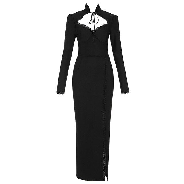 High Quality 2021 Sexy Winter Black Women's Dress Celebrity Hollow Party Club Vestido Ankle Length O Neck Dress Bodycon