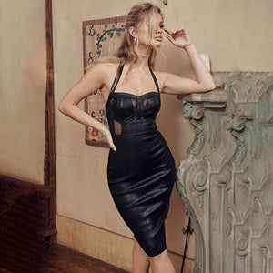Metallic Black Bandage Bodycon Dress Sexy Sheath Halter Keyhole Hollow Out Perspective Party Dress Black Knee Length