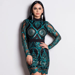 Long Sleeve Bandage Dress With Sequins 2019 New Sexy Backless Mesh Mini Party Bodycon Dress Green