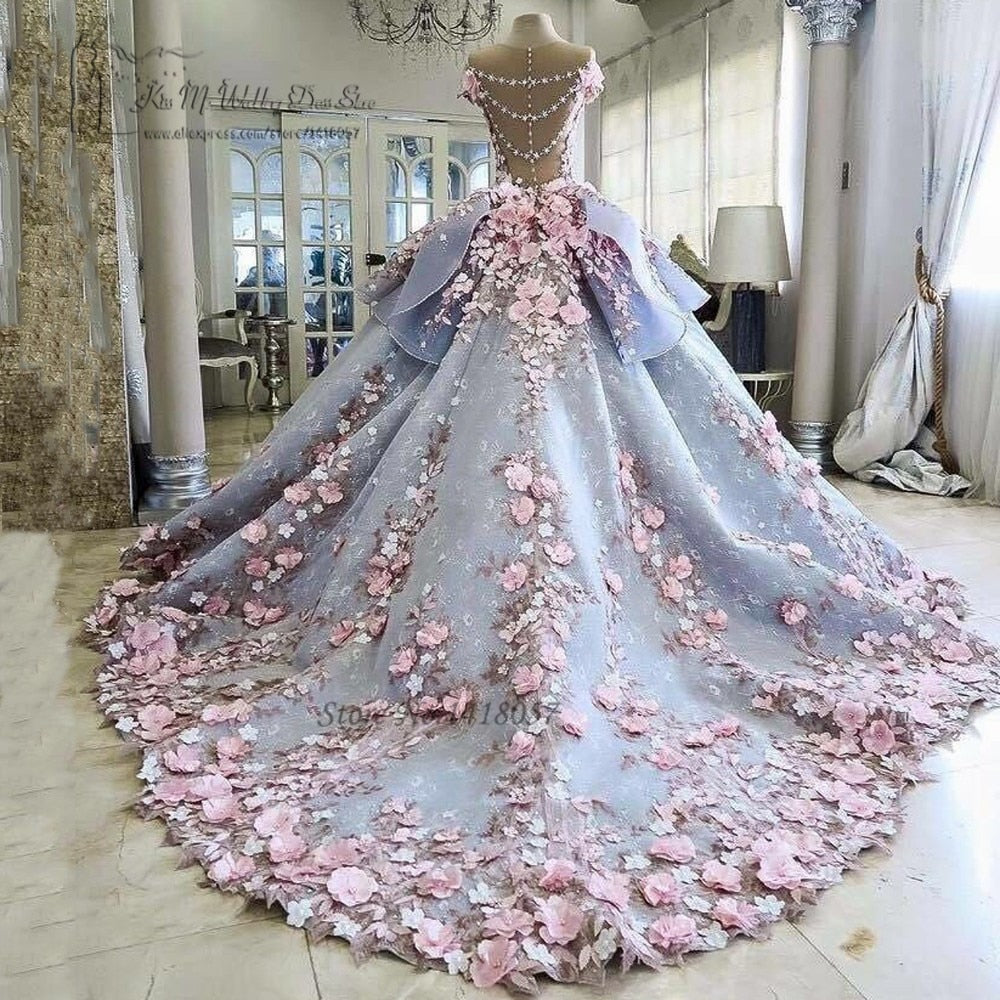 Colorful Luxury Wedding Dresses Pink Flowers Dreamy Ball Gown Wedding Gowns Princess Bride Dress 2017 Vestido de Noiva Mariage