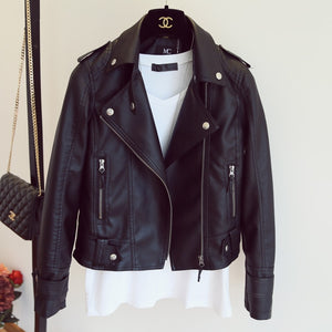 New Autumn Winter Pu Leather Jacket Faux Soft Leather Coat Slim Black Rivet Zipper Motorcycle Jackets Womens Biker Jacket