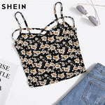 SHEIN Cropped Women Tops Multicolor Floral Spaghetti Strap Women Sexy Crop Top Ditsy Print Crisscross Front Cami Top