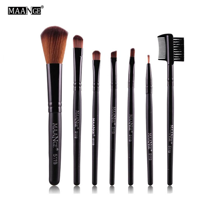 MAANGE 7PCS Protable Makeup Brush Set Eye shadow Powder Make Up Toiletry Eyebrow Lip Cosmetic Beauty Make Up Brush Travel Kit