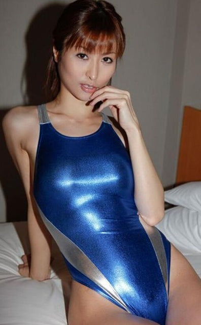 Novelty Blue/Red Faux Leather Bodysuit Shiny Metallic Tight Leotard Hot Sexy Women One Piece Swimsuit Erotic Bathing Suit