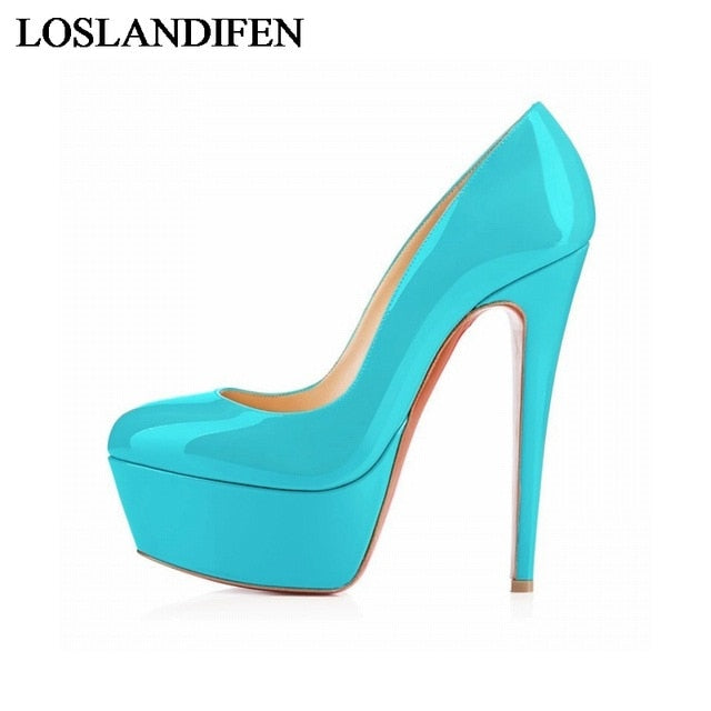 Sexy 14Cm High Heels Women Platform Pumps New Fashion Wedding Party Shoes Customize Red Bottoms Shoes Plus Size 35-42 NLK-A0042