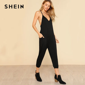 SHEIN Harem Leg Cami Jumpsuit  for Women 2018 New Black Straps Special Back Mid Waist Ankle Calf Length Sexy Jumpsuit