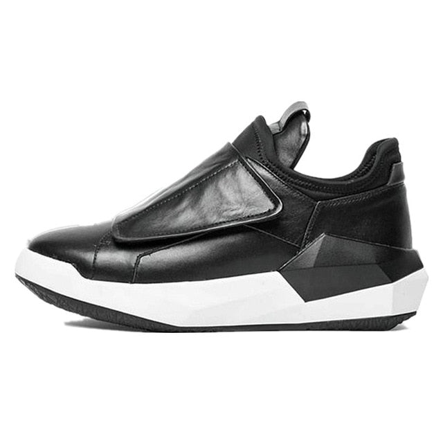 Korean Spring New Men Genuine Leather Casual Sneakers Gothic Thick Platform Punk Shoes Male Hip Hop Dancing Trainer Footwear