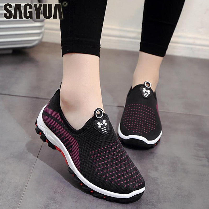 Spring Autumn Women Ladies Feminine Fashion Casual Mesh Air Shallow Low Comfort Zapatillas Slip-On Loafers Shoes Plimsolls T628