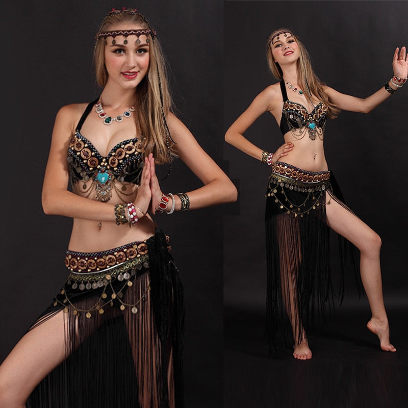 Sexy Arab Tribal Belly Dance Costume Bra+Tassel Belt 2 Pieces Set Oriental Eastern Costume Woman Dance Clothes S/34 M/36 L/38