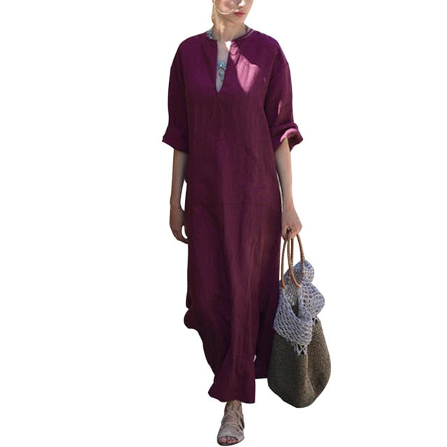 Vestidos Celmia Women Vintage Linen Dress Long 2018 Summer Autumn Sexy Deep V Neck Long Sleeve Split Maxi Dress Kaftan Plus Size