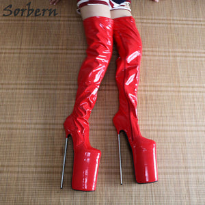 Sorbern Exquiste 30Cm Metal Heels Platform Crotch High Boots For Women Round Toe Shiny Ladies Boots Stilettos Pole Dance Shoes