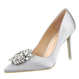 Women Pumps Elegant Rhinestone High Heels Shoes Sexy Thin Pointed Single Shoes