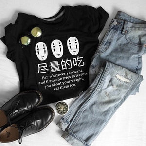 Hillbilly Japanese Anime Eat Whatever You Want Funny Sayings Tees T-Shirt Women Harajuku Fashion Cute Casual Black Tops Clothing