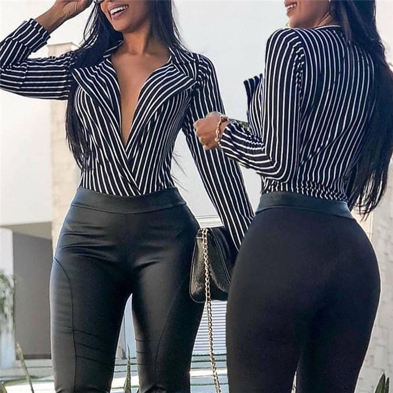Women Loose Deep V Neck Sexy Blouse Striped Long Sleeve Autumn Summer Top Ladies Sexy Club Shirt Women Fashion Blousa