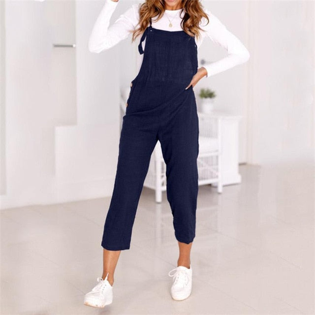 Women Spaghetti Strap Wide Legs Bodycon Jumpsuit Trousers Clubwear Rompers 2018 summer womens romper Loose Dungarees New QX40