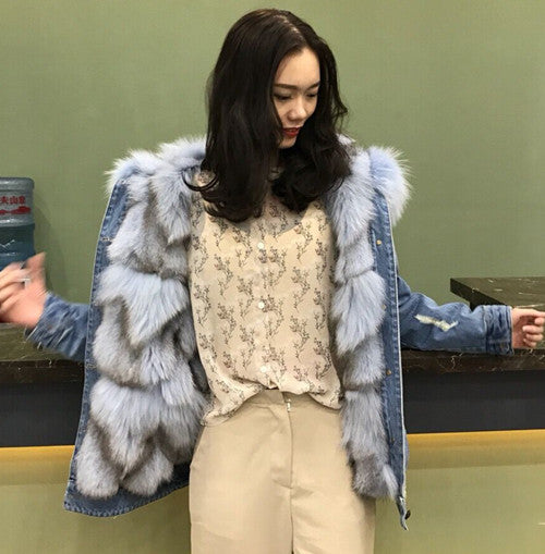 Thick Warm Real Fox Fur Lining Denim Jacket Coat Parkas Natural Raccoon Fur Collar Women Real Fur Coat