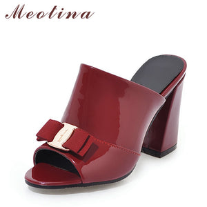 Meotina Women Shoes Summer High Heels Peep Toe Ladies Party Shoes Bow Block Heel Female Slipper Outdoor Red Black Big Size 34-43