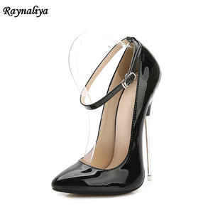 Ladies Metal Heels Pumps Shoes Women Big Size 35-44 Spring Autumn Pointed Toe Fashion Party Causal High Heel Shoes MS-B0028