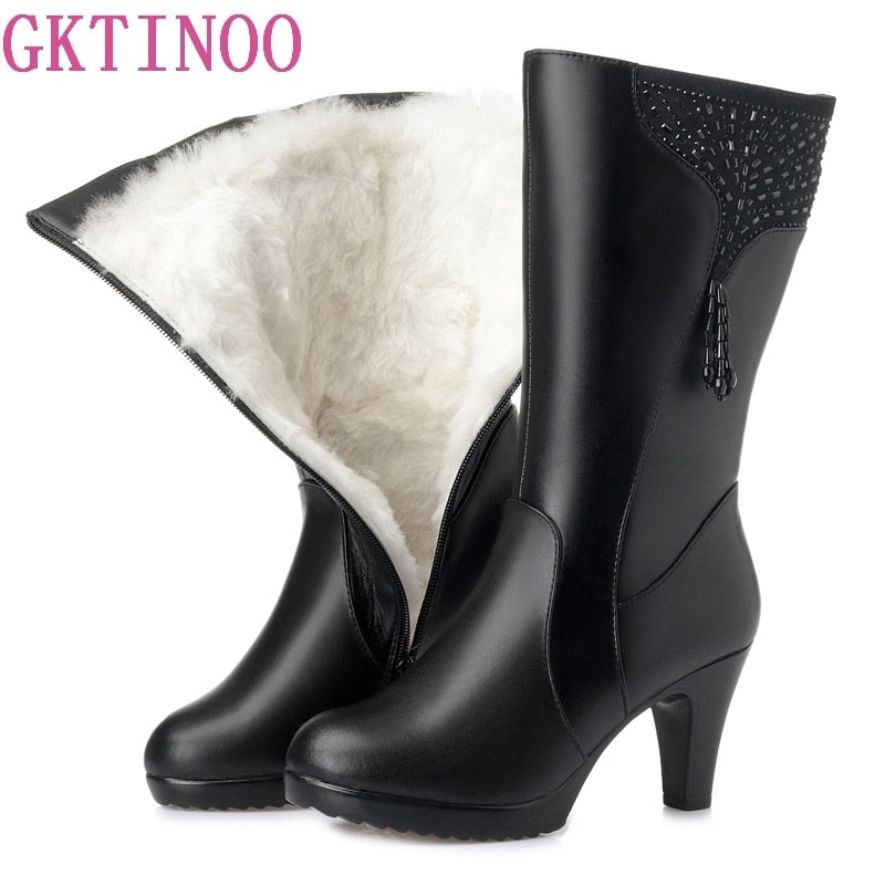GKTINOO Winter Boots Wool Fur Inside Warm Shoes Women Genuine Leather Shoes High Heels Boots Footwear Botas Big Size 35-43