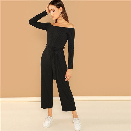 SHEIN Black Casual Off Shoulder Tie Waist Solid Wide Leg Long Sleeve Mid Waist Jumpsuit 2018 Autumn Office Lady Women Jumpsuits