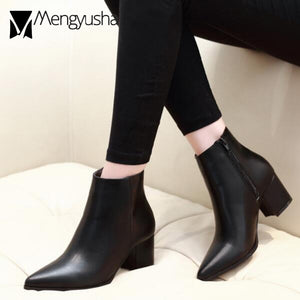 Solid Leather Boots Woman Zipper Martin Boots Winter Short Ankle Booties Pointed Toe Thick High Heels Chelsea Botas Snow Shoes