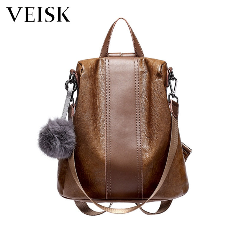 VEISK Female Backpack Natural Soft Leather Backpacks Genuine Leather Luxury Brown Ball Sac A Dos Femme Women Backpack School Bag
