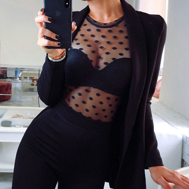 2018 Womens Kawaii Long Sleeve Sexy Black Mesh Top Polka Dot O Neck T Shirts Transparent Punk Style Streetwear Tees Beach Tops