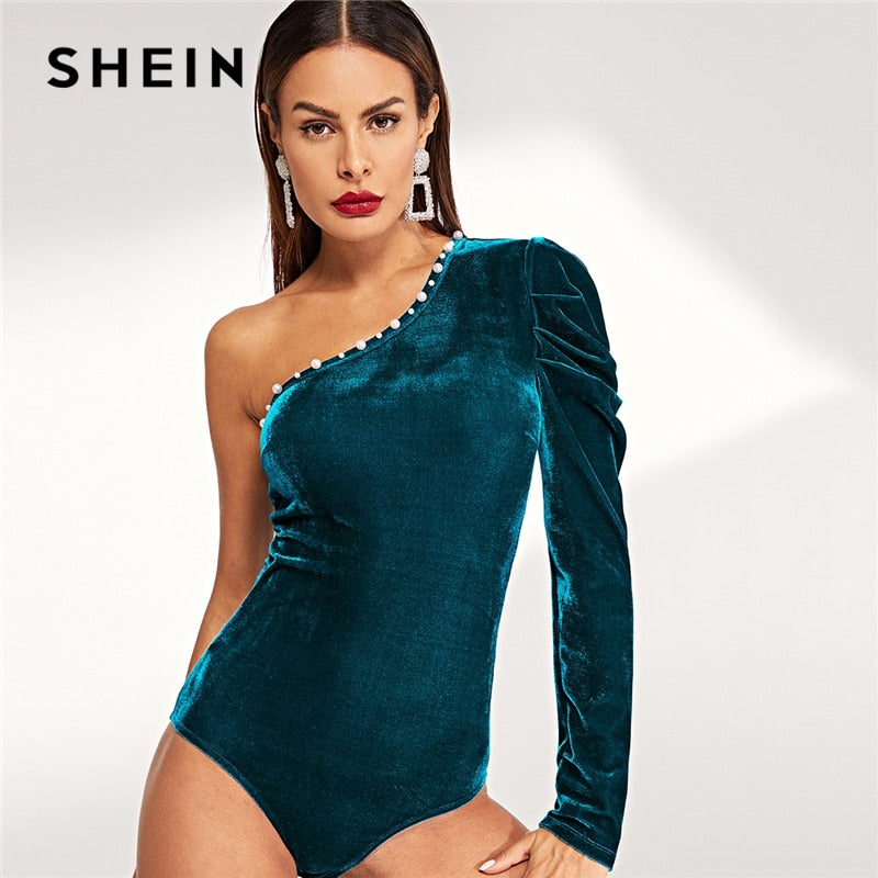 SHEIN Blub Party Sexy Solid One Shoulder Beaded Long Sleeve Highstreet Skinny Bodysuit Autumn Streetwear Women Bodysuits