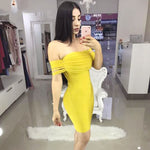 BEAUKEY 2018 Yellow Sexy Off The Shoulder Bandage Dress Tassel Sleeve Above Knee Length Dress Plus Size
