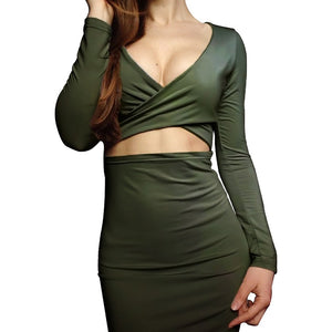Women's Autumn And Winter Sexy V-Neck Bag Hip Clubwear Long-Sleeved Dress