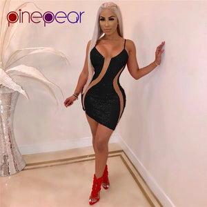 PinePear Glitter Sequin Dress 2019 NEW Bodycon Birthday Dresses Women Sexy See Through Mesh Red Christmas Party Dress Wholesale