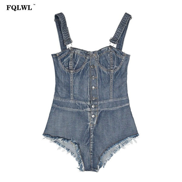 54e8f7fd70 ... FQLWL Sexy Bodycon Denim Jumpsuits Summer Rompers Backless Bodysuit Top  Bandage Tight Washed Jeans Denim Overalls