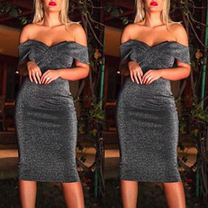Sexy Women Off The Shoulder Bodycon Cocktail Prom Gown Dress