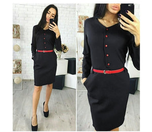 Elegant Autumn Spring New Arrival Shirt Dress Women Casual Straight V-neck Red Button Pockets Office Work Dresses without belt