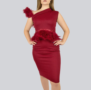 Red Dress with feathered Strap and feathered front ruffle / Bodycon